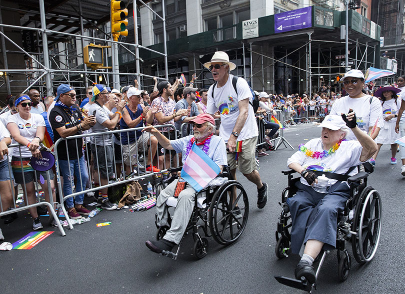 photo of people pushing wheelchairs in 2019 Pride March