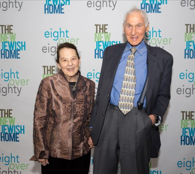 A man and Woman at the New Jewish Home Eighty Over Eighty event 2020